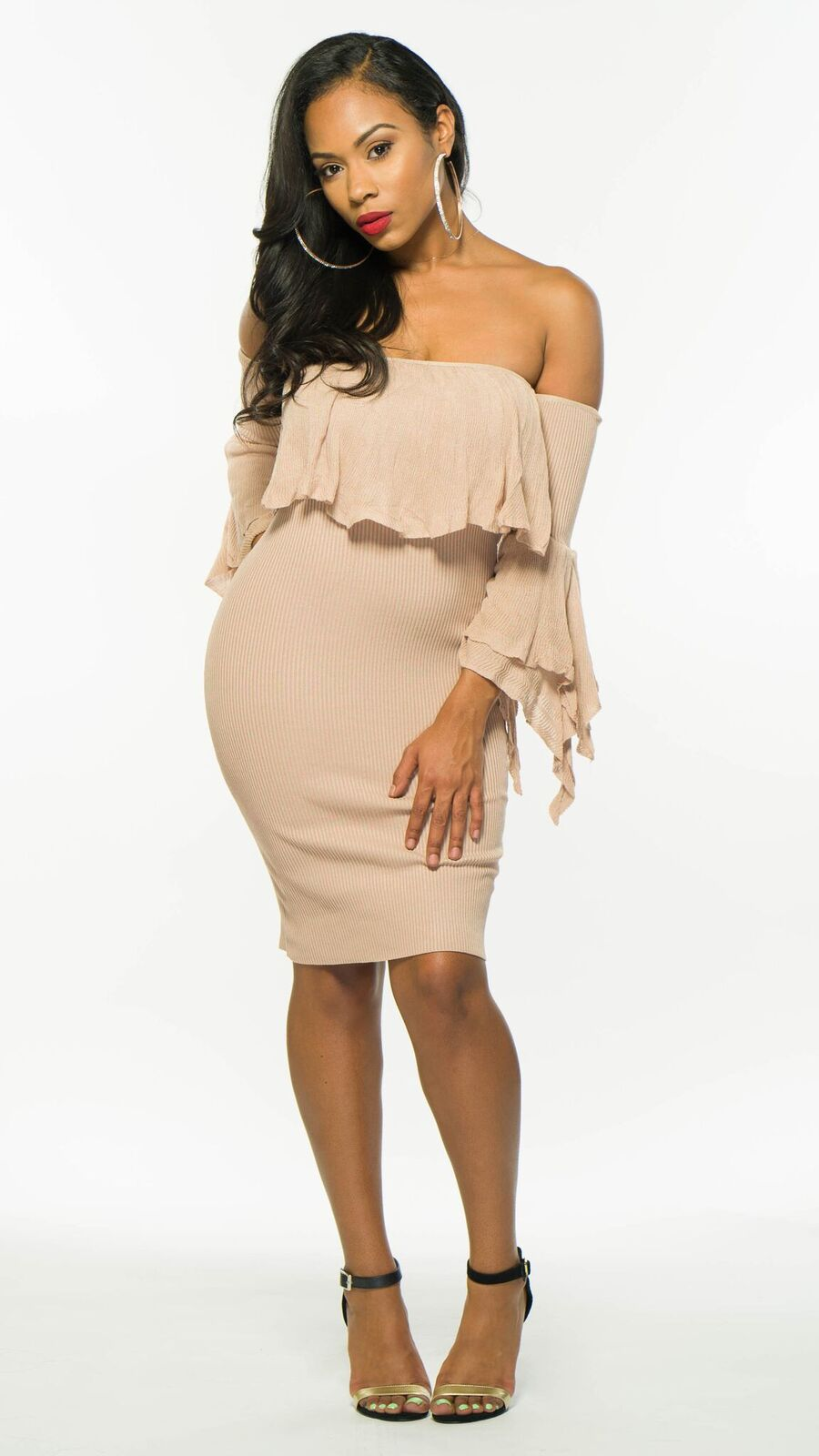 fd5769c7e84c Tan Off Shoulder Dress
